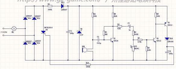 220V市电经过VD1~VD4组成的桥式整流输出脉动电压,经过R1,VD5,C1降压滤波后,由VS提供11V的稳定直流电压,为控制电路提供电源供给. 静态待机状态下: BM无信号输入,V1处于静止放大状态,因为C3的隔直作用,V2基极无偏置电压而处于截止状态,导致V3的Vbe为0使得V3也处于截止状态,C4上面无电压,VT的控制极没有提供足够的导通电压,VT处于截止状态,EL没有足够的电流,处于熄灭状态。 当外界光照强度足够时: RG呈现低阻抗状态,即使短路C3,V2的基极也得不到足够的偏置电压而处于截止