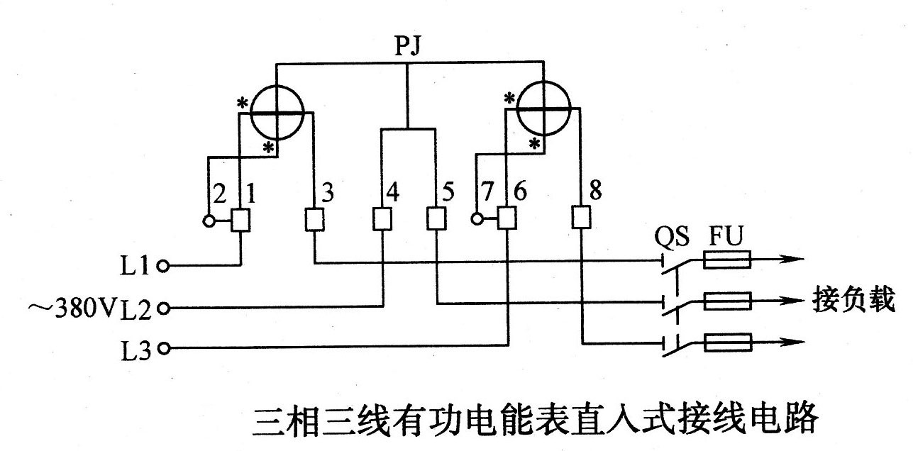 三相三线有功电能表直入式接线电路