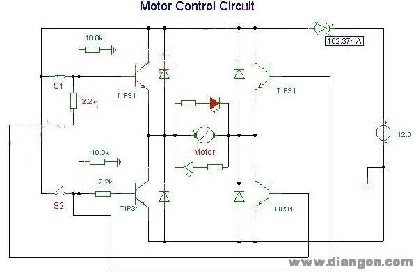 直流电机正反转控制驱动电路图