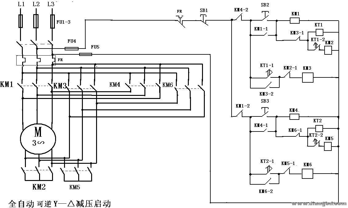 三相异步电动机全自动可逆y—△减压启动电路图