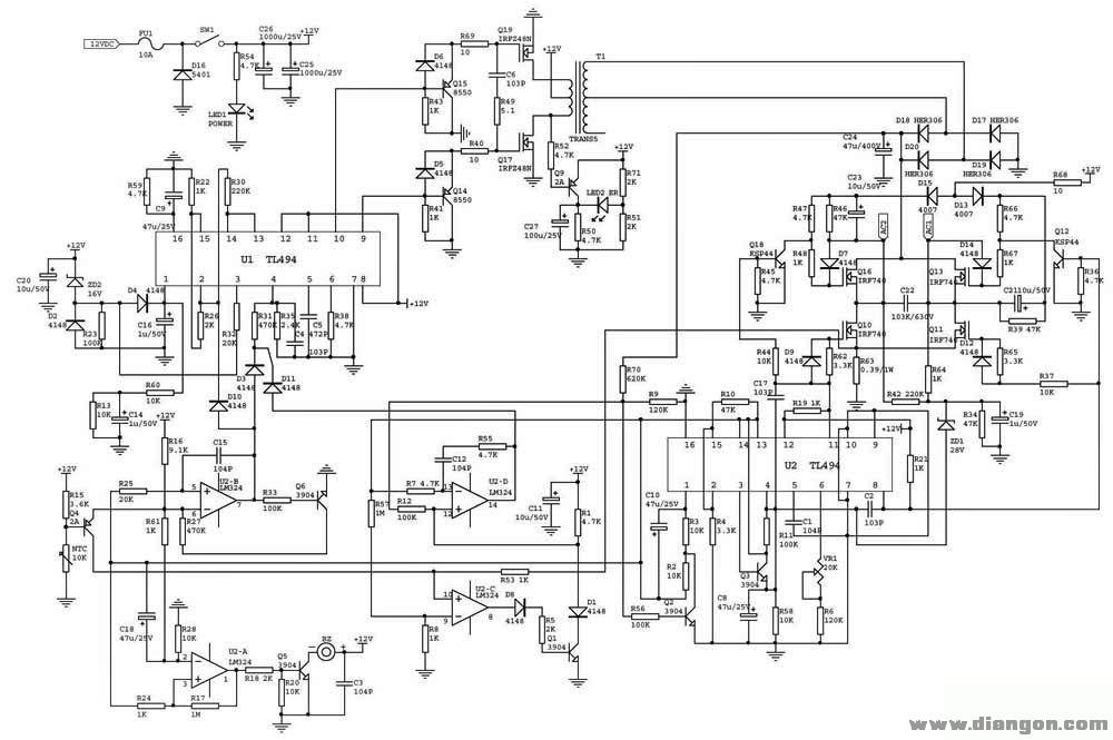 车载逆变器电路原理图