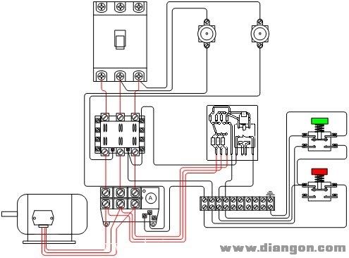 电动机断相保护电路接线示意图