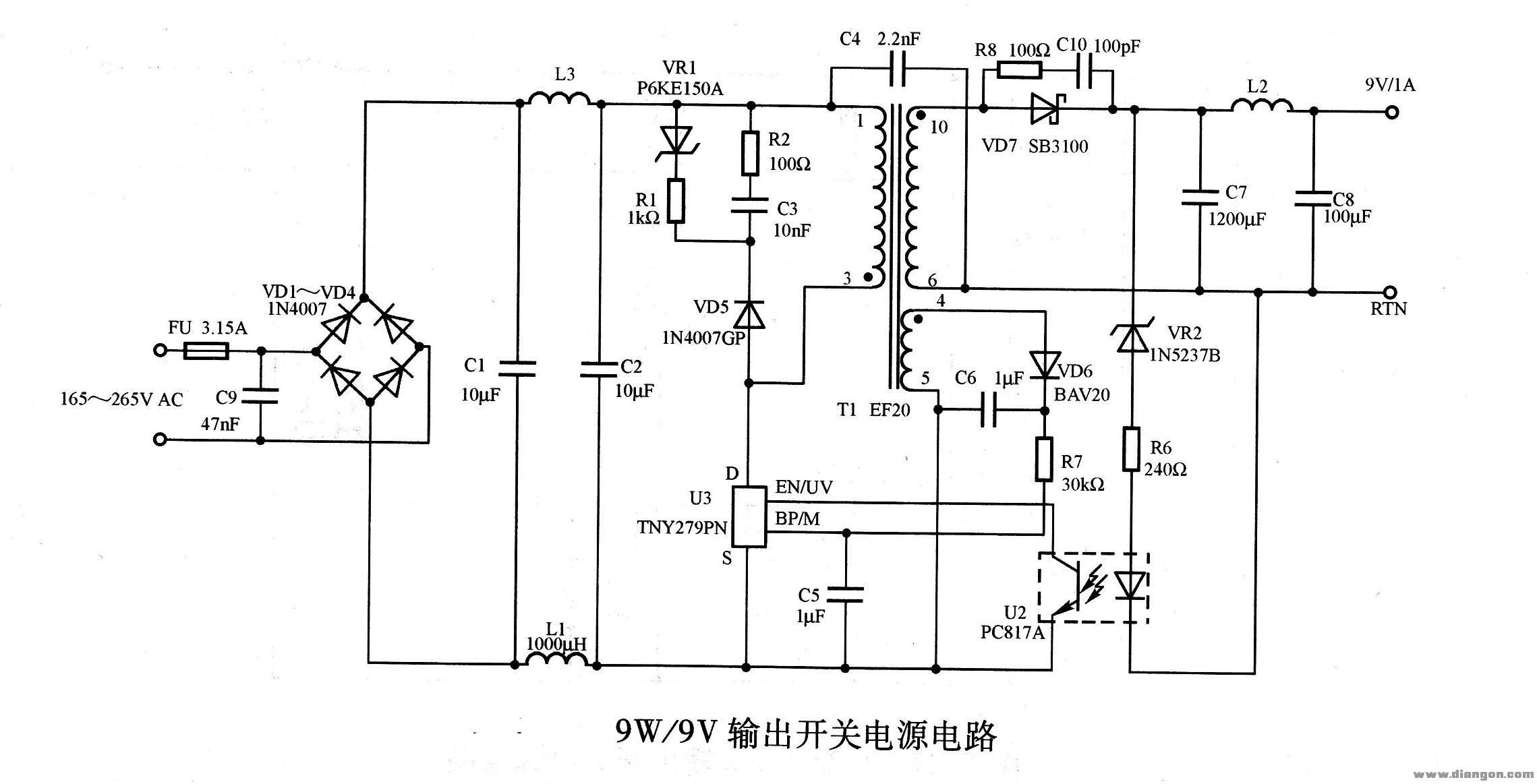 9w/9v输出开关电源电路图