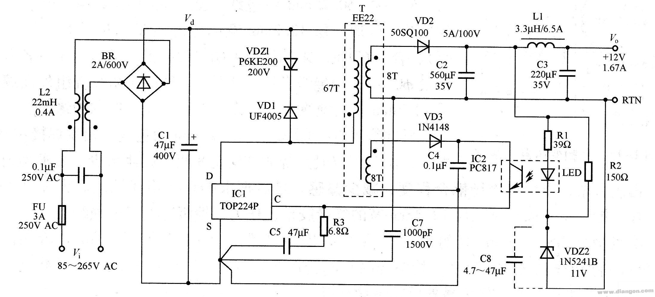 20w/12v输出开关电源电路图