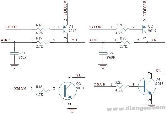 本振动测试分析仪的人机接口界面采用了电阻式触摸屏,加上采用了640480的高亮TFT彩色液晶屏,使得人机界面很友善,操作非常方便。S3C2410自带了触摸屏的接口电路,触摸屏接口的设计比较简单。触摸屏接口电路如图,其中YU、YL、XR、XL表示4线电阻式触摸屏的的4个接口信号。