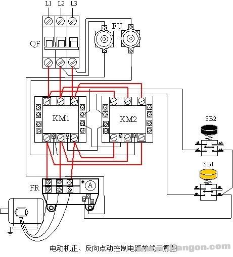 三相异步电动机正,反向点动控制电路