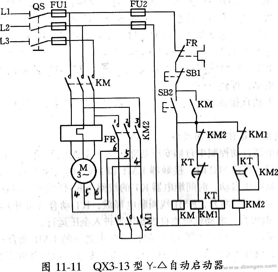 y-△(星三角)降压启动控制线路-接触器应用接线图