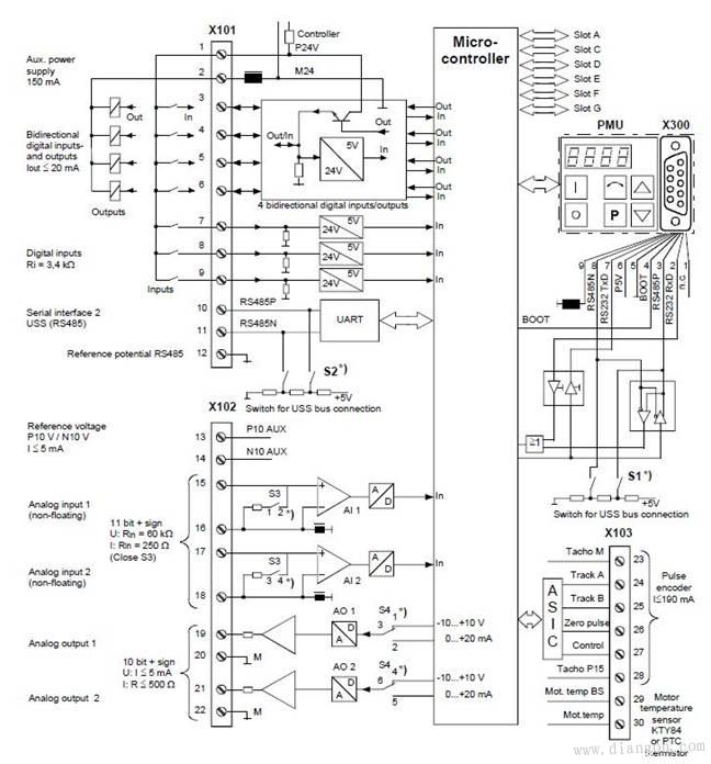 西門子s6e70變頻器接線圖