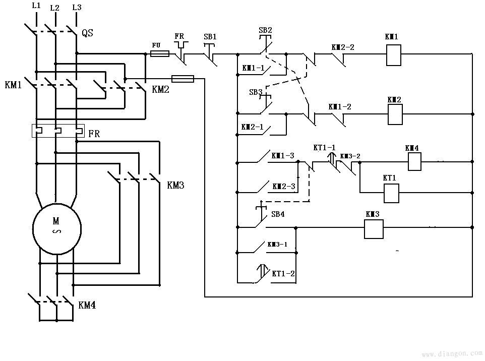 电动机正反转星三角降压启动电路图图片