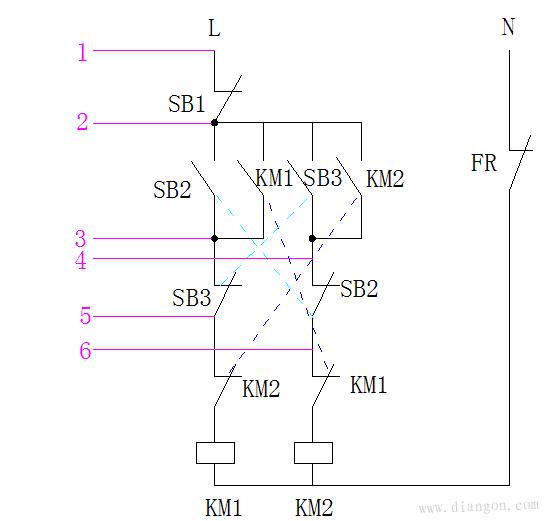 三相异步电动机双重互锁按钮盒怎么接线啊