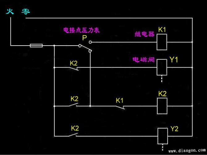 电接点压力表,继电器,电磁阀接线图 - 电路图分享_图片