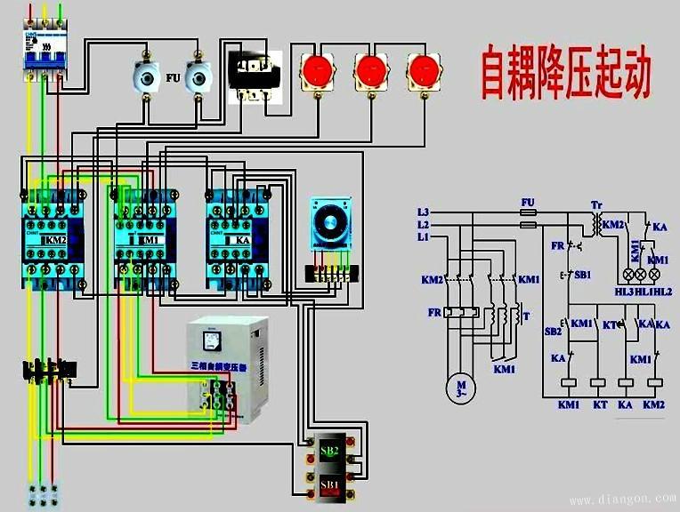 三相电动机星形/三角形降压启动电路图