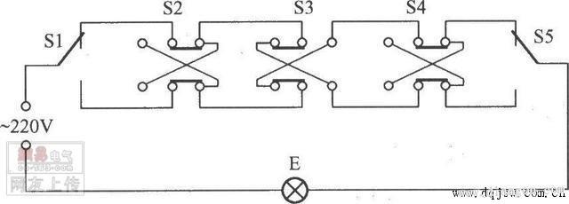 三控开关:中间那个开关叫做中途开关或者多控开关,本地买不到的话可以在淘宝等地方买,西门子的大概20~30多块钱,松下的贵,80~90多块。也可以用普通双开双控开关改造,把双开双控开关的两个翘板用热熔胶、502或哥俩好粘住,就变成了一个中途开关,接法同下面普通中途开关接线图。