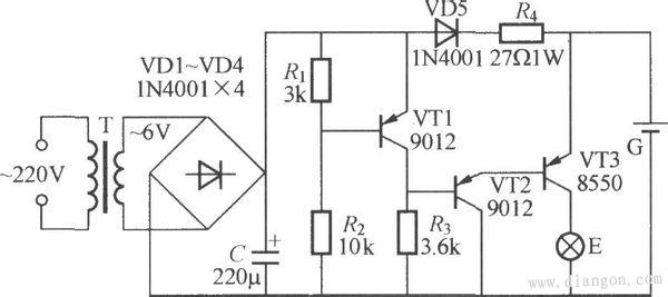 当市电正常时,220V交流电经变压器整流为6V,经VD1-VD4整流,C滤波后,直流电一路经VD5、R4限流,给电池G充电。另一路经R1R3分压,使VT1饱和,VT2基极高电位,VT2、VT3截止,所以灯不亮。当停电时,变压器失电,VT1失电截止,VD5反偏,电源经过VT3VT2R3构成回路,VT2VT3导通,E得电发光。VD5同时起防止电池G向电路反送电作用。 消防应急照明灯,实用于消防应急照明,是消防应急中最为广泛的一种移动照明灯,应急工夫长,高亮度具有断电主动应急功用。消防应急照明灯具有耗电小、亮度