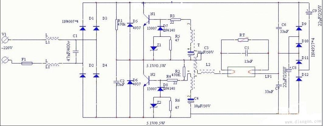 40w日光灯电子镇流器电路原理图