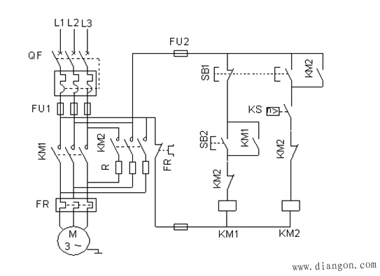 可逆运行反接制动控制电路