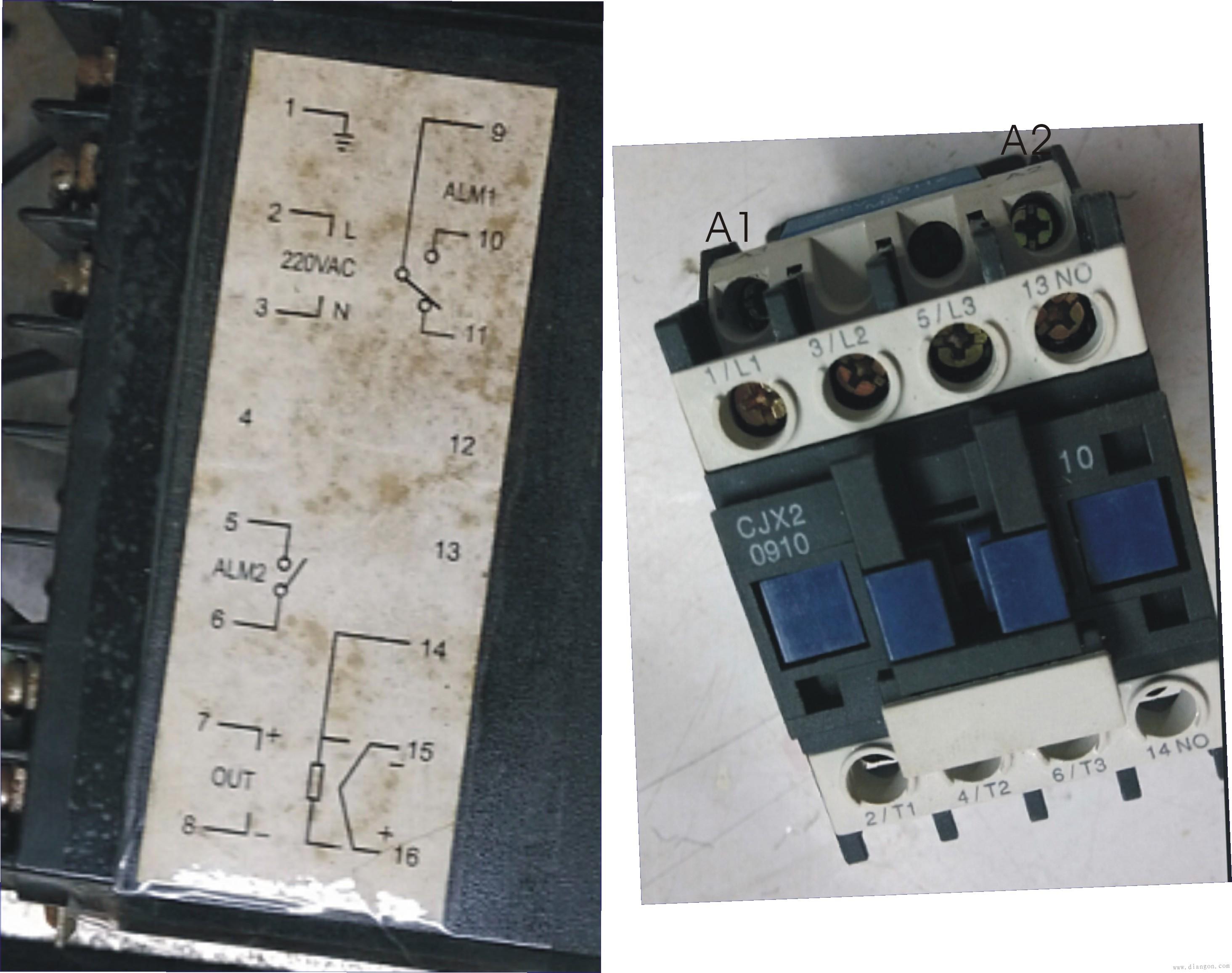 用cjx2-0910交流接触器和cnf-5161p温控器控制锡炉帮忙画接线图