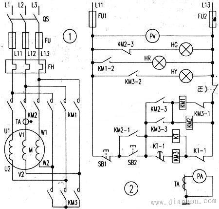 星三角降压启动的主回路和二次控制原理图图片