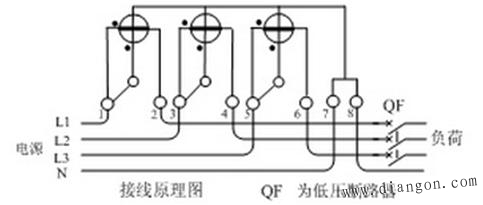 三相有功电度表接线原理图