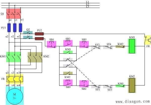 电工论坛 69 电工技术交流 69 电路图分享 69 正反转自动循环