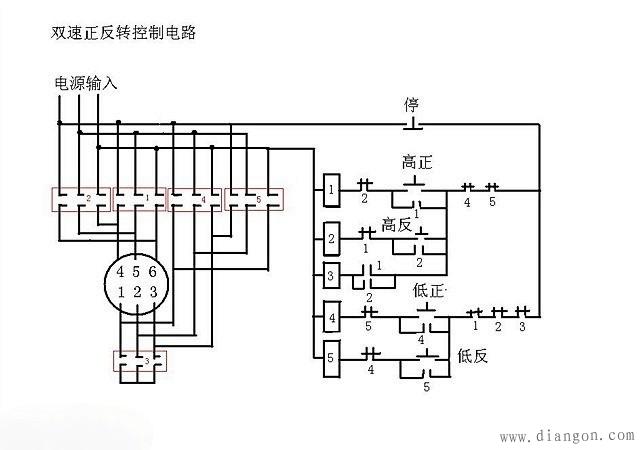 双速电机正反转控制原理图 - 电路图分享 电工论坛