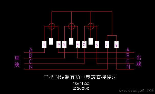 配电柜上电流表与互感器的接线图