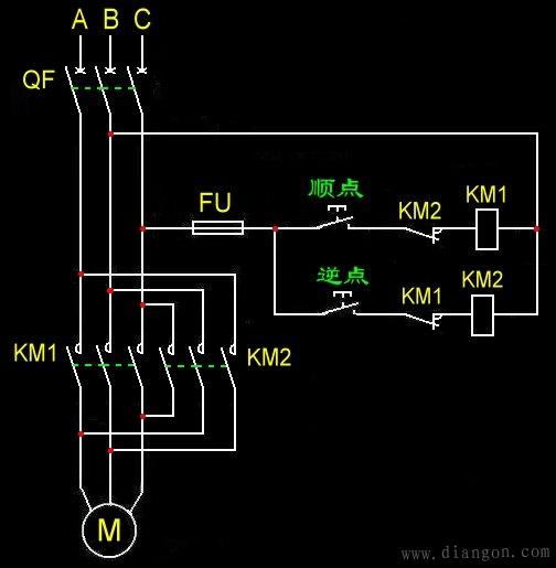 点动控制电机顺,逆转电路图和接线图