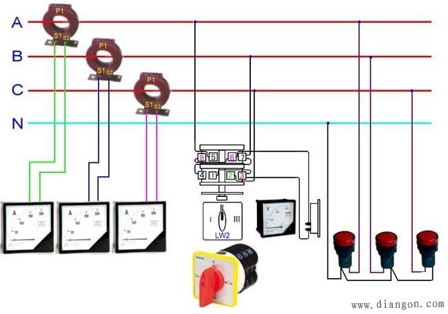 """微信用户""""赵国首都""""求助:三相四线电表带互感器接线图 三相四线电表接线图/接线方法翻过接线端子盖,就可以看到三相四线电表接线图。 其中1、4、7接电流互感器二次侧S1端,即电流进线端; 3、6、9接电流互感器二次侧S2端,即电流出线端; 2、5、8分别接三相电源; 10、11是接零端。为了安全,应将电流互感器S2端连接后接地。注意的是各电流互感器的电流测量取样必须与其电压取样保持同相,即1、2、3为一组;4、5、6 为一组;7、8、9 为一组。 不带电流互感器的三相四线电表接线图"""
