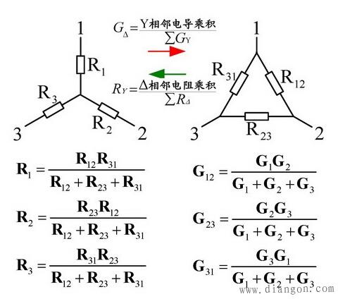星形连接和三角形连接电阻(阻抗)等效变换公式