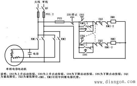 电动机正反转行程开关控制电路图
