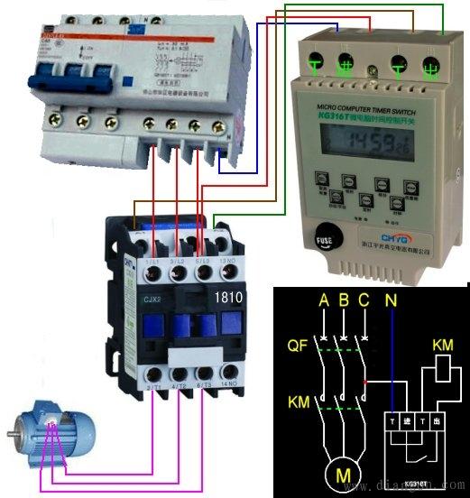 交流接触器微电脑时控开关接线图