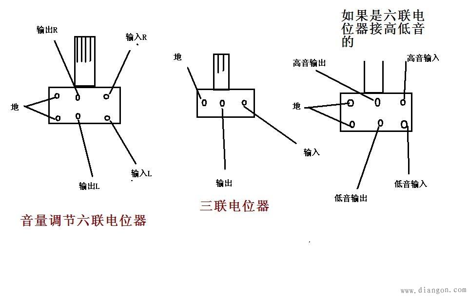 电路图分享 69 音量电位器接线图  音量电位器是三线对数式可变电阻