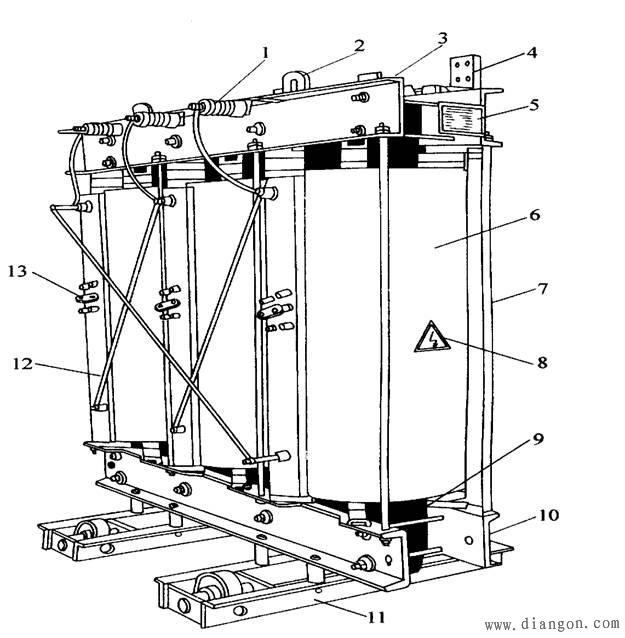 69 电力变压器内部结构示意图    1信号温度计,2铭牌,3吸湿器,4油枕
