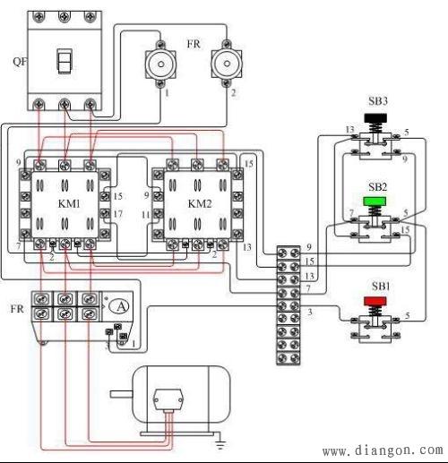 按钮和接触器双重互锁的电动机正,反两方向运行的控制电路