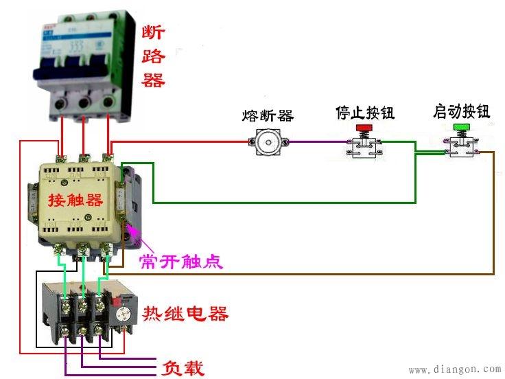 首先电源三相分别接接触器的主触点L1,L2,L3,再从接触器的T1,T2,T3接出三根线接电机的三个接线柱,以上是主电路。 控制电路:从L1引出一根线接停止按钮(停止按钮是常闭的,启动按钮是常开的,这个应该知道吧!)从停止按钮出来接启动按钮一端和接触器辅助触点的一端,然后从启动按钮的另一端接辅助触点的另一端(这部分也就是自锁),从这一端出来的线接线圈A1,线圈A2出线接L2或L3(你的接触器是380V的,如果是220的就接零) 13、14表示这个接触器的辅助触点,NO表示为常开,也就是没通电的情况下13、