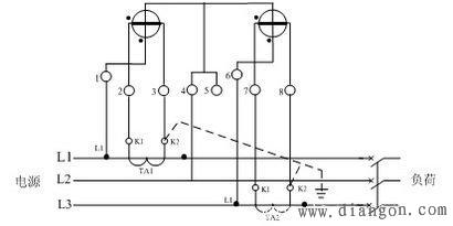 三相四线互感器电表接线图