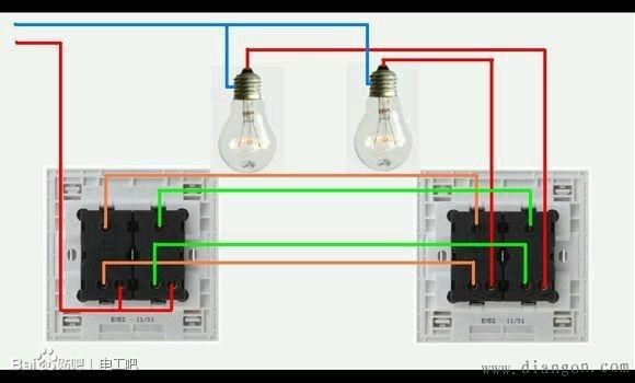2,电源火线接第一只双控开关2号接线柱,1,3号接线柱分别用2根电线连
