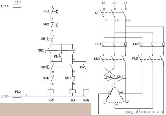 控制电路分析     1,合上空气开关qf引入三相电源     2,按下起动按钮