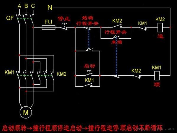 电动机自动往返循环控制电路图和实物接线图