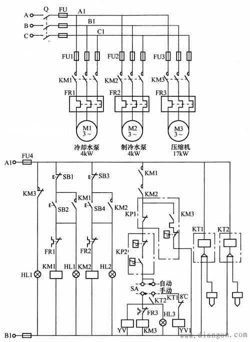 水冷式中央空调系统电气控制电路图