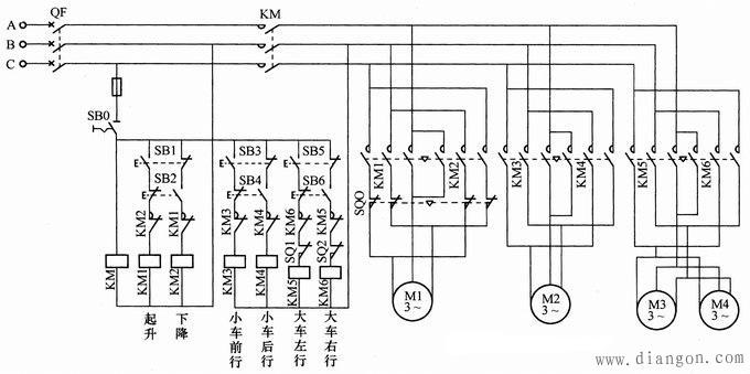 单梁桥(门)式电动葫芦起重机电路图