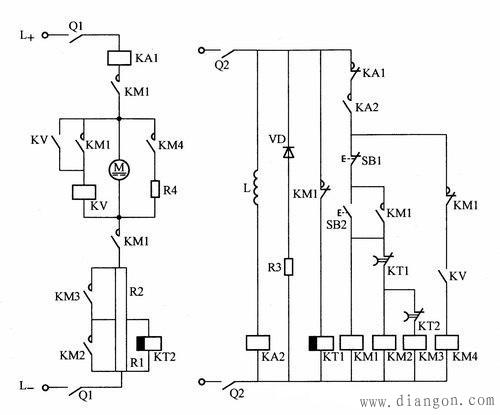 电压继电器控制直流电动机能耗制动电路   停车时,按下停止按钮sb1