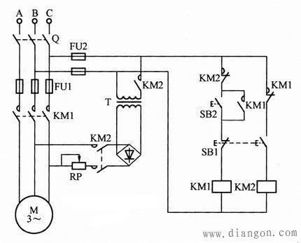 按钮控制异步电动机能耗制动电路接线图