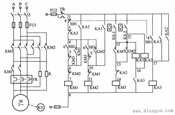 接入正相序三相交流电源进行减压起动,当速度继电器转速超过120r/min