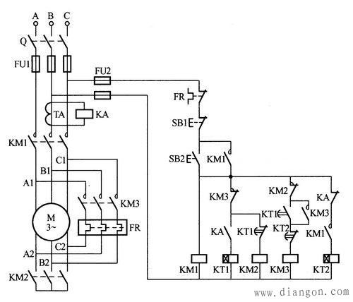 电动机星-三角-星形连接转换节能控制电路图