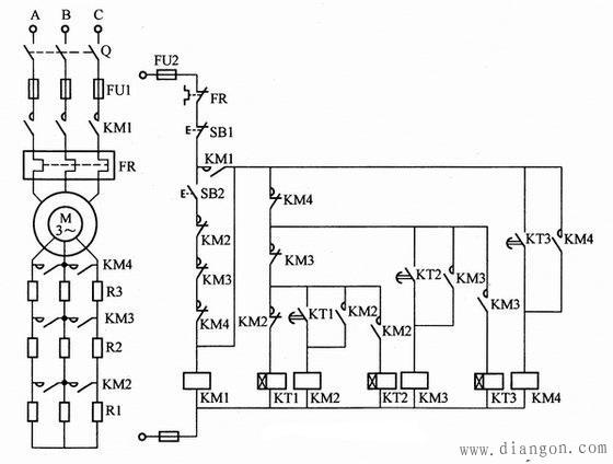 按时间原则控制电动机转子串电阻降压启动电路