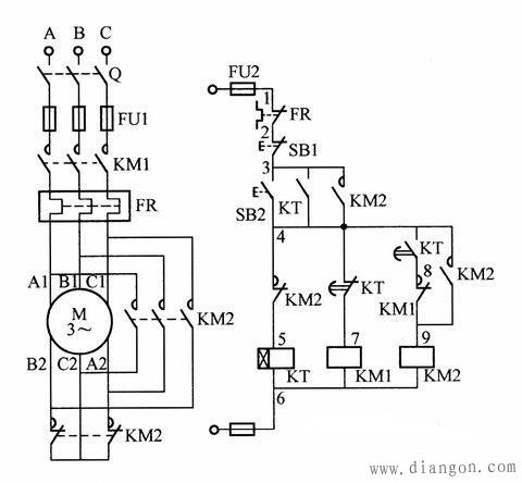 触器实现电动机星三角降压启动控制电路图