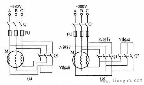 电动机手动星三角降压启动电路图