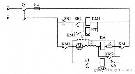 按速度电流时间原则切除直流电动机启动电阻的电路图