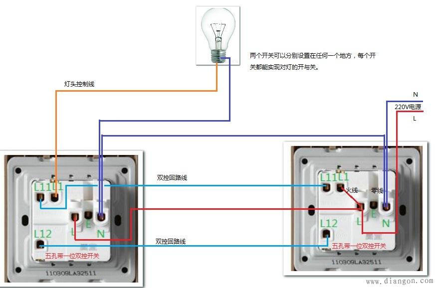 69 电路图分享 69 双控开关带插座接线图  双控开关:一个双联开关